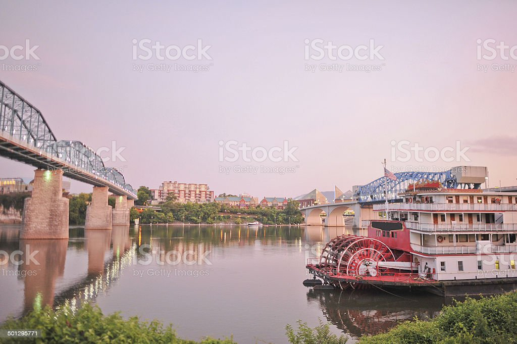 Chattanooga Waterfront at Dusk stock photo
