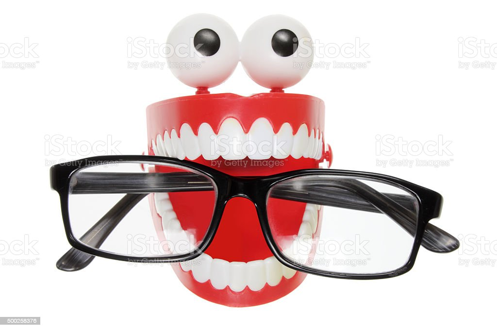Chattering Teeth with Eyeglasses stock photo