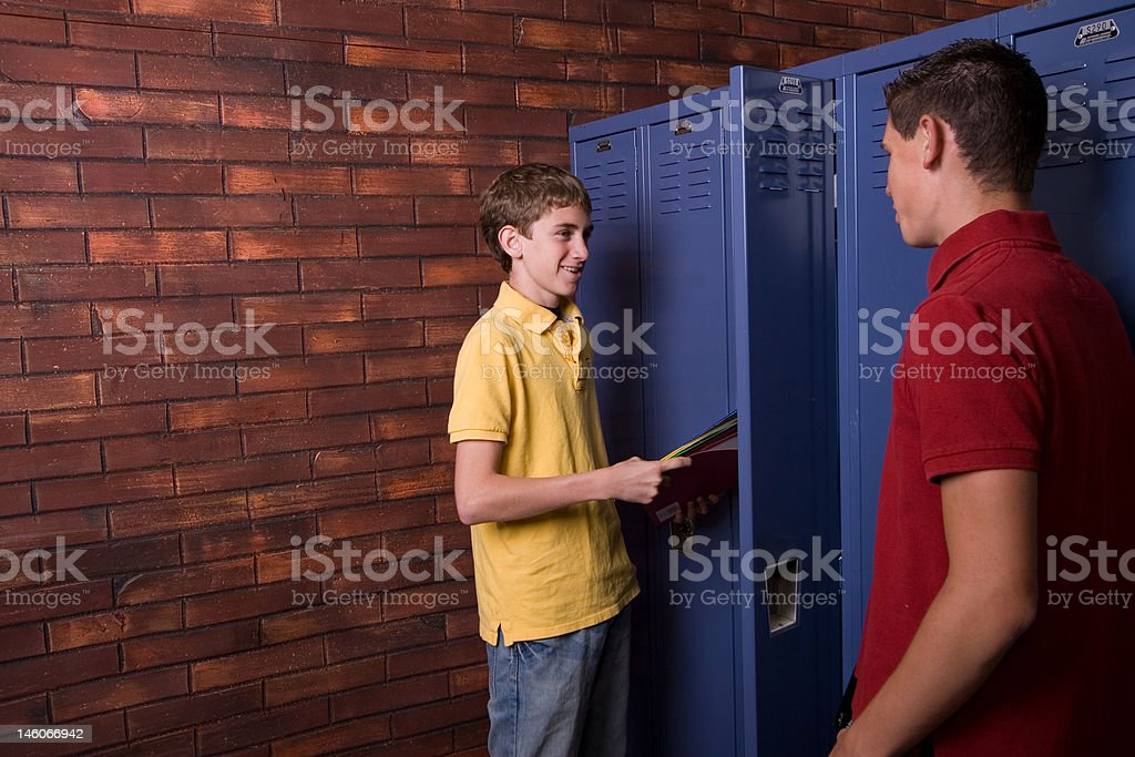 Chatting at the Lockers royalty-free stock photo
