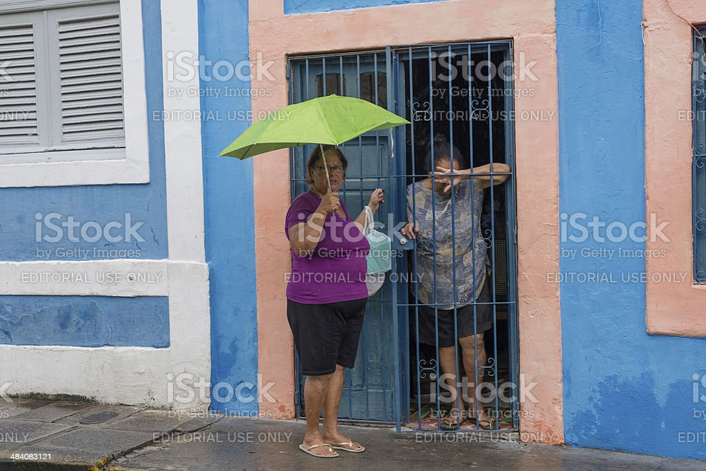 Chatting face to face in Brazil stock photo