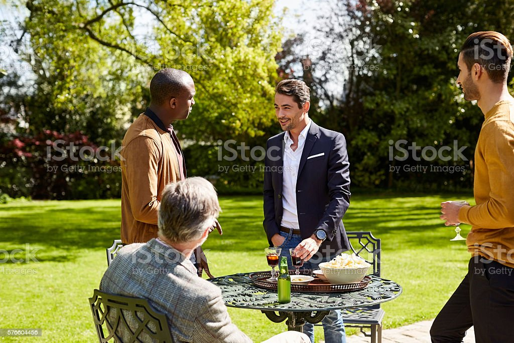 Chatting over a few cold ones stock photo