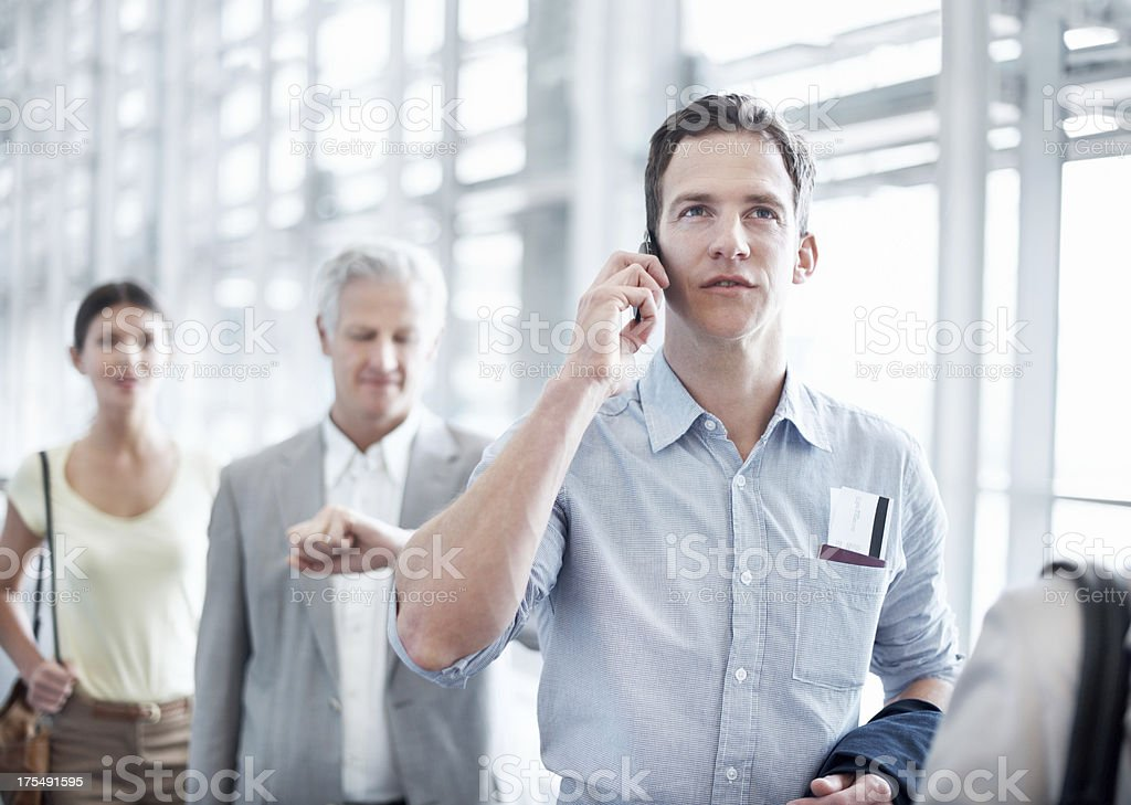 Chatting to a client before departing stock photo