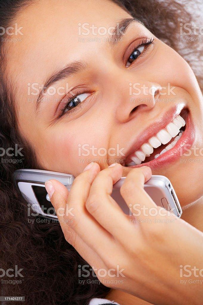 Chatting whit her boyfriend royalty-free stock photo