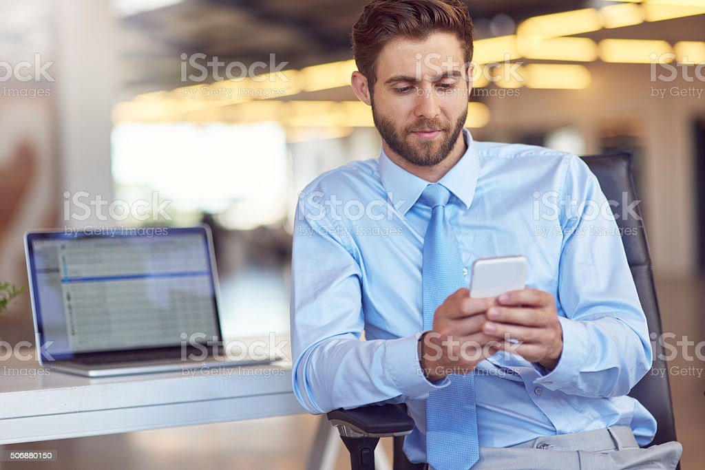 Chatting with a client stock photo