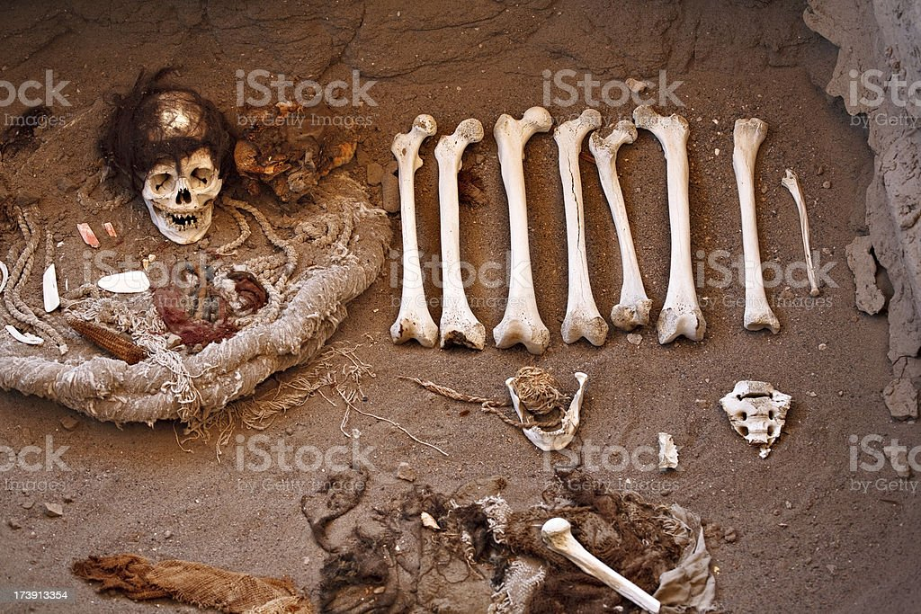 Chauchilla Cemetery Grave, Nazca royalty-free stock photo