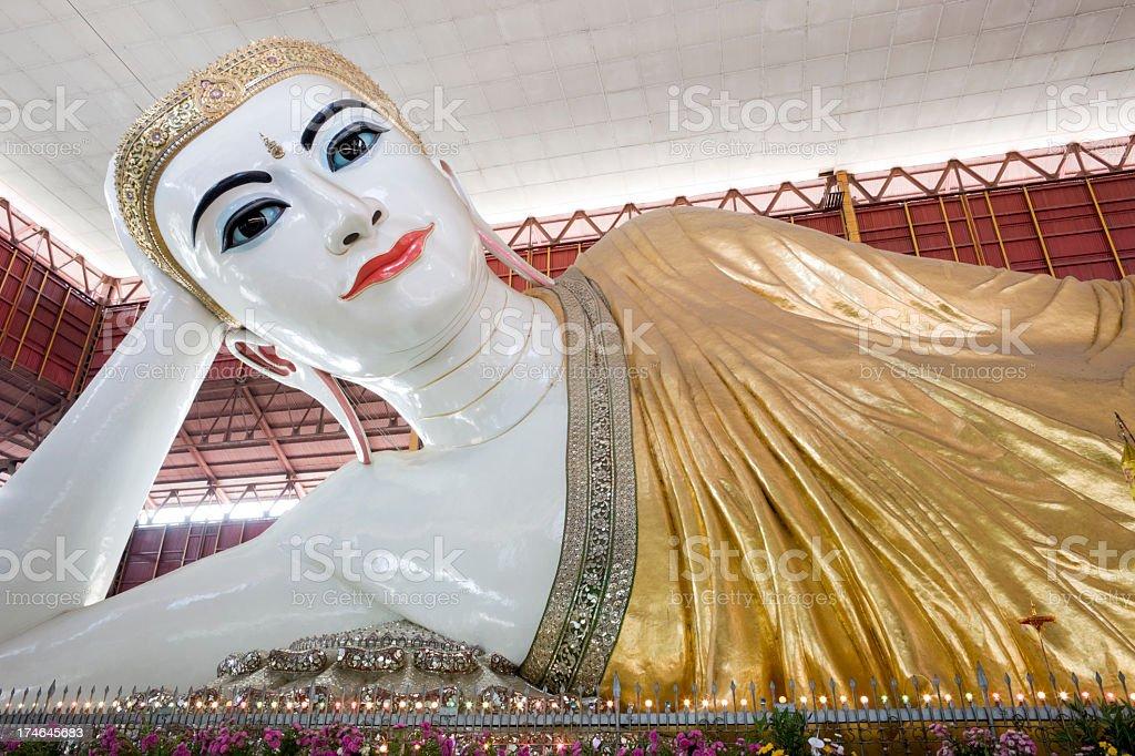 Chaukhtatgyi Paya reclining Buddha in Yangon, Myanmar. royalty-free stock photo