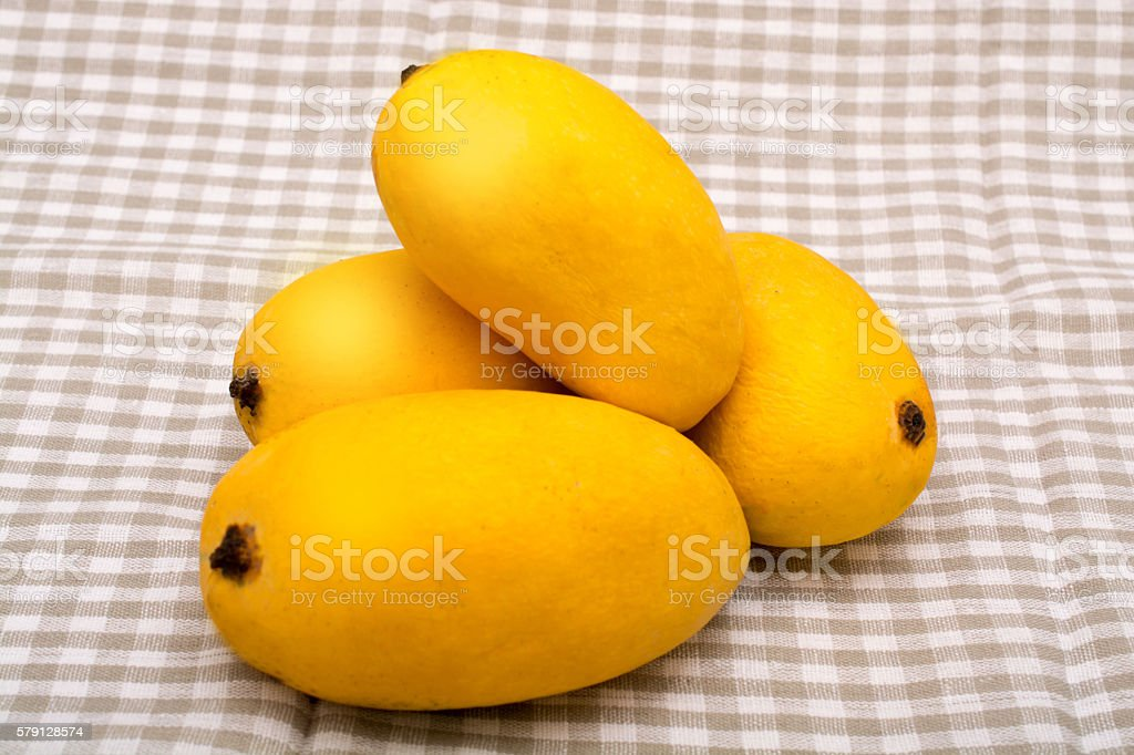 Chaunsa Mango, A king of all fruits on tablecloth stock photo
