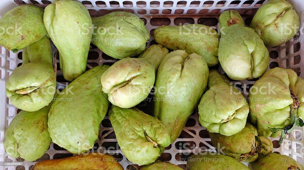Chayote fruits stock photo