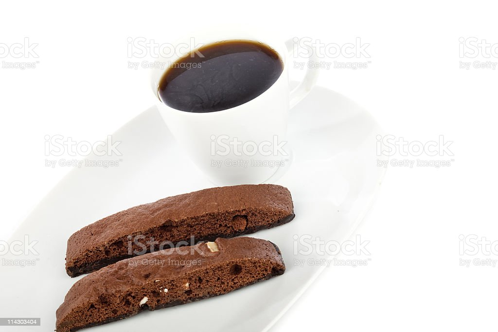 Chcolate Biscotti and Black Coffee royalty-free stock photo