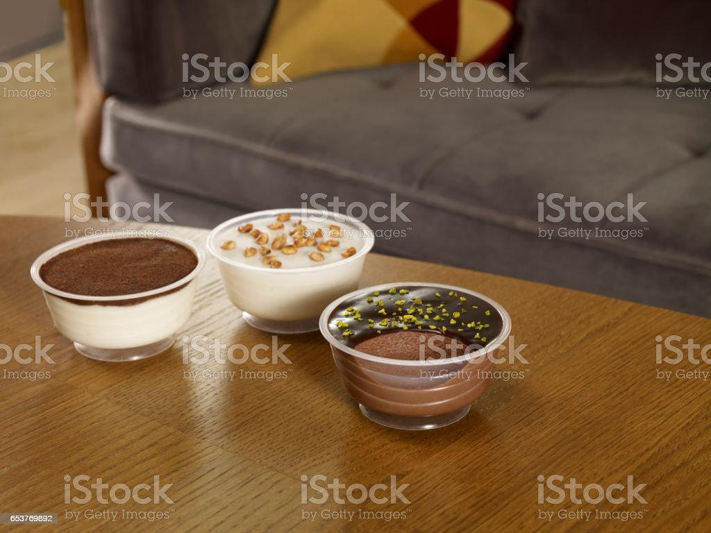 chcolate mouse and pudding stock photo