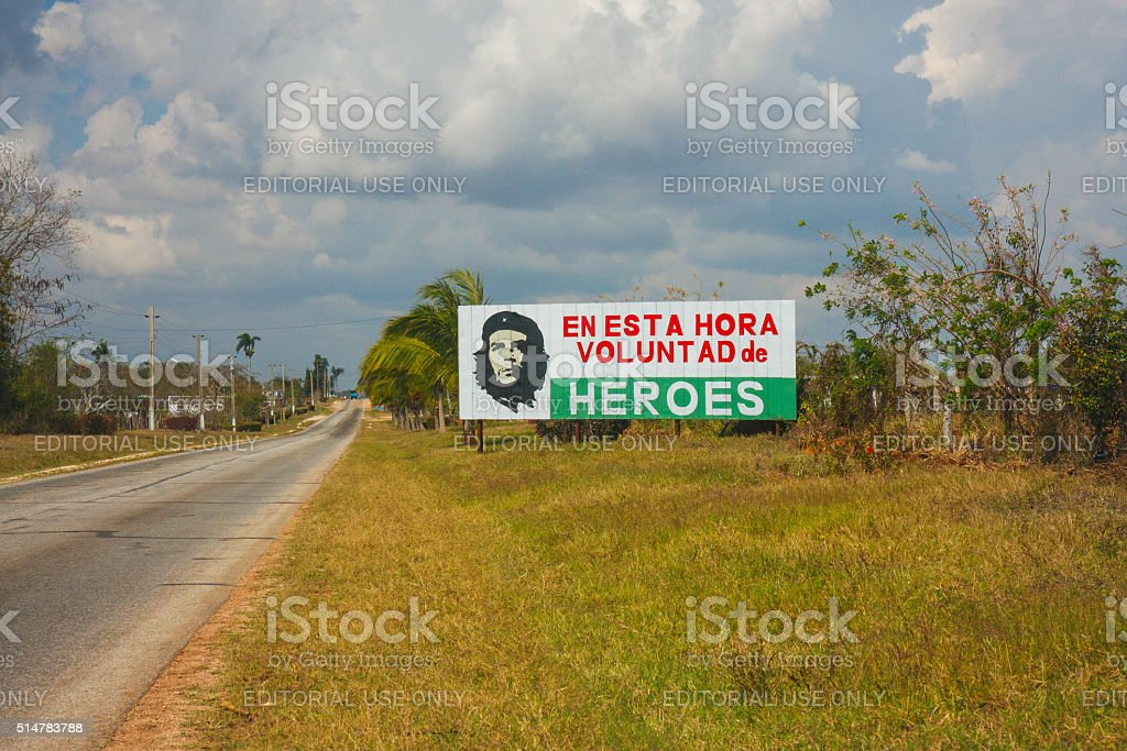Che Guevara features on a large billboard stock photo