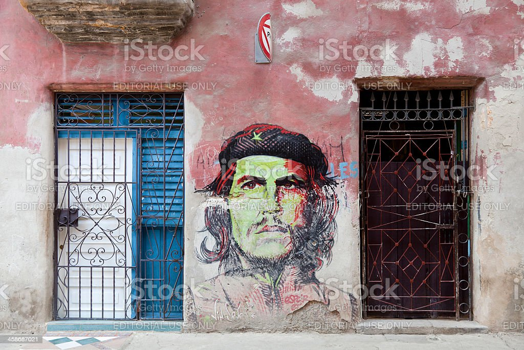 Che Guevara painted on a wall in Habana stock photo