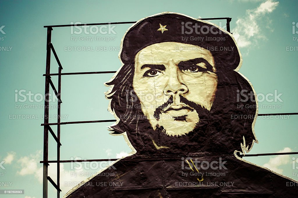 Che Guevara painting over building in Cuba stock photo