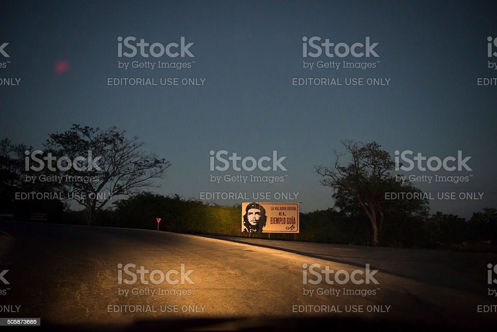Che Guevara political billboard on Cuban roadside stock photo