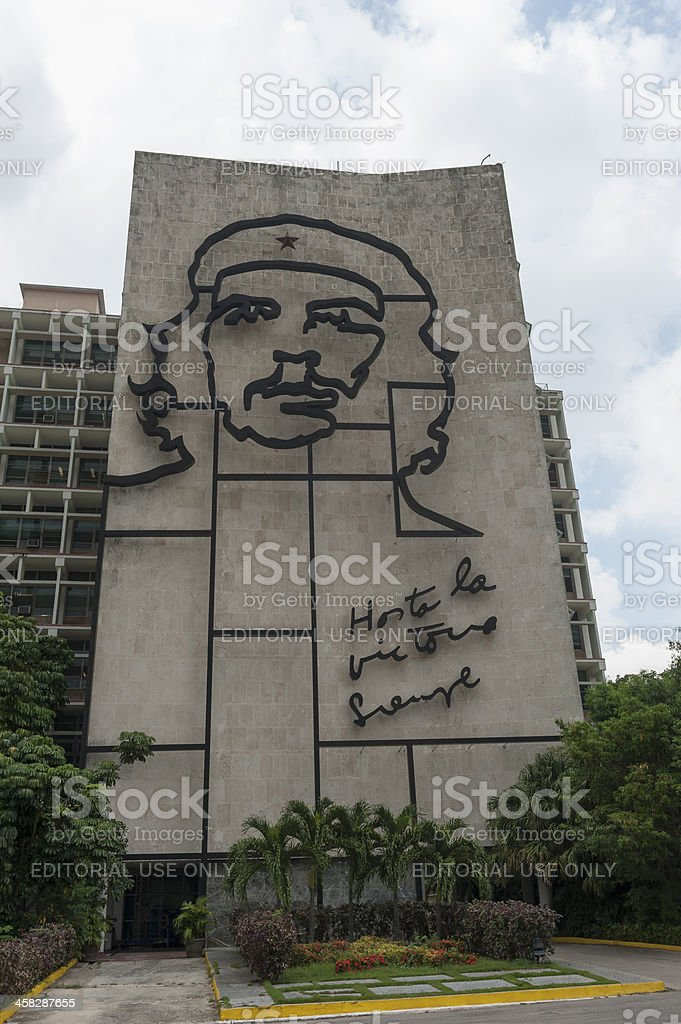 che guevaro on a buiding in Havana, Cuba royalty-free stock photo