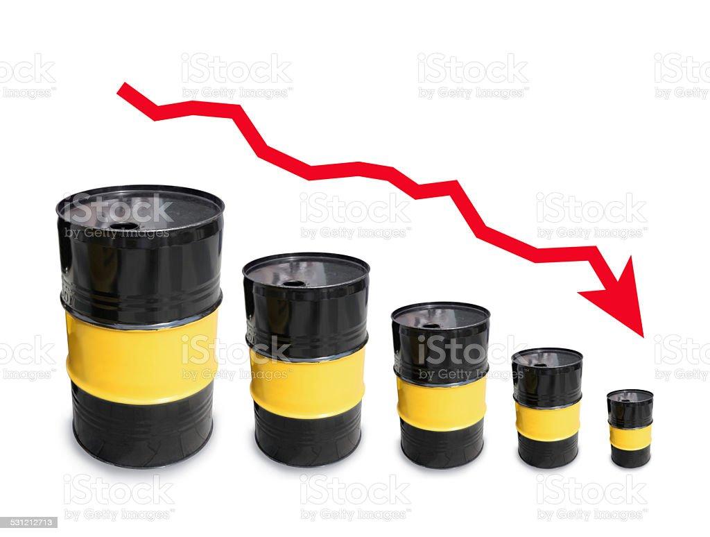 Cheap crude oil barrels chart stock photo