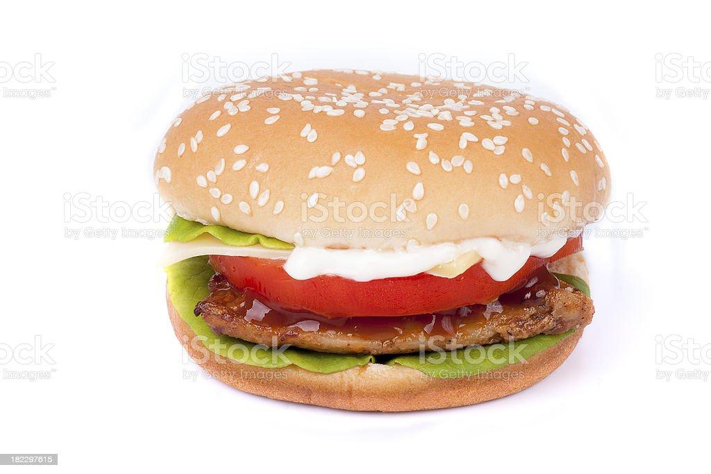 Cheap hamburger isolated stock photo