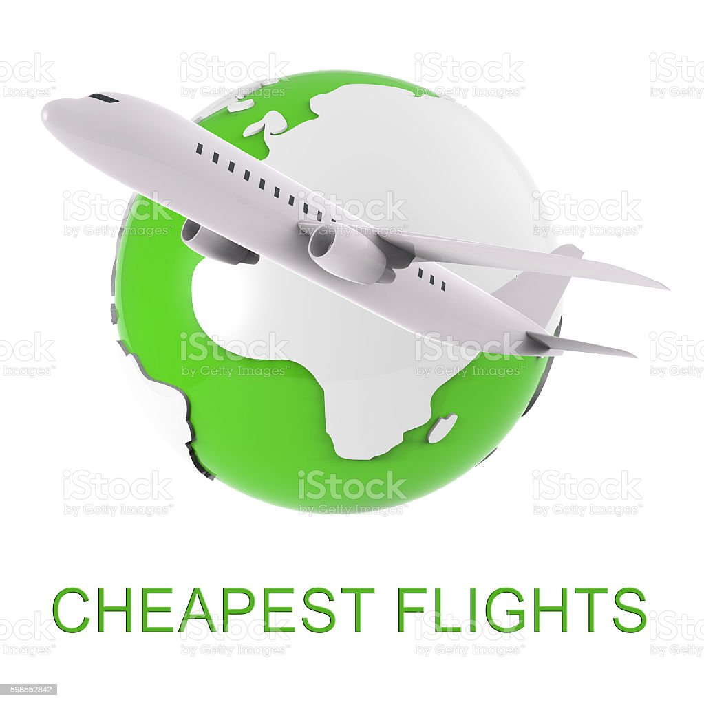 Cheapest Flights Shows Jet Discounts And Airline 3d Rendering stock photo
