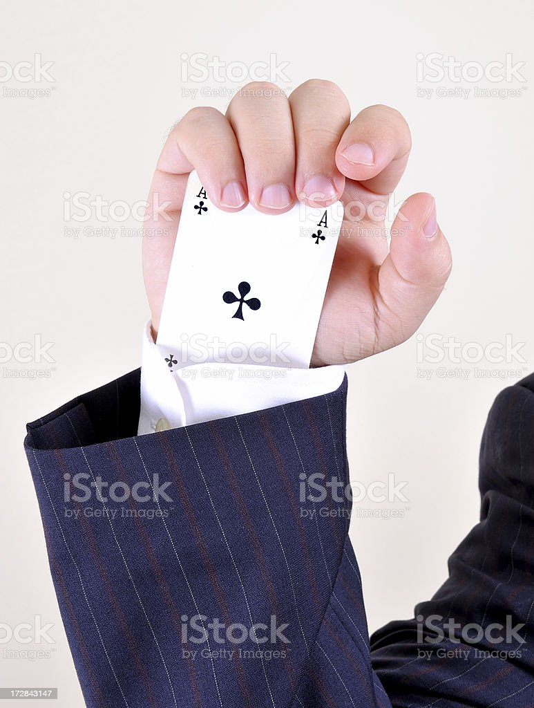 cheater with playing card royalty-free stock photo