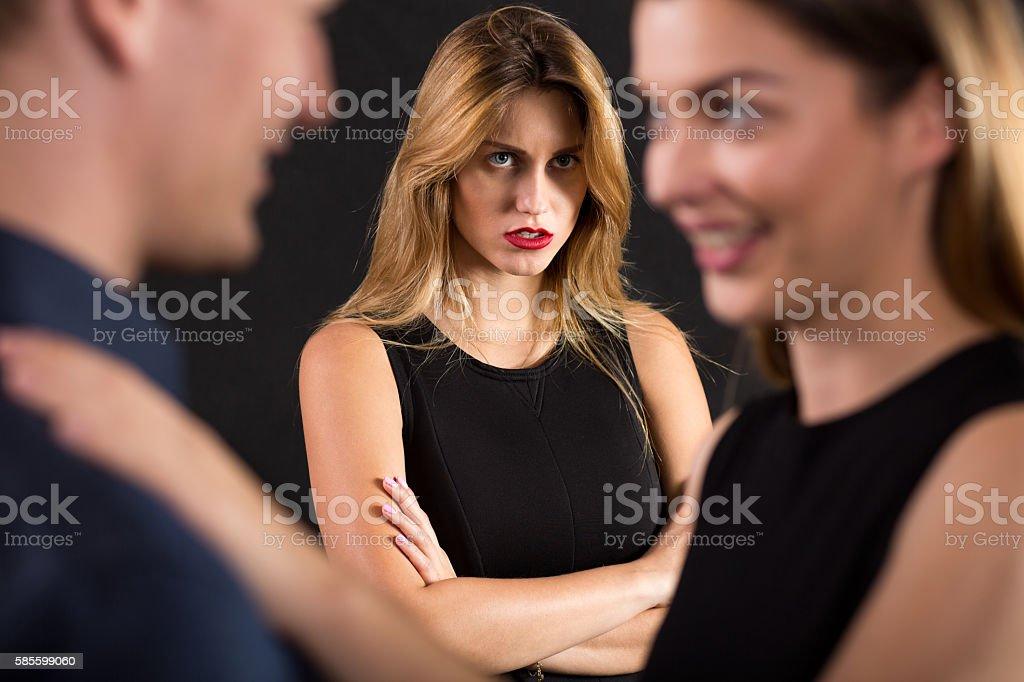 Cheating on girlfriend stock photo