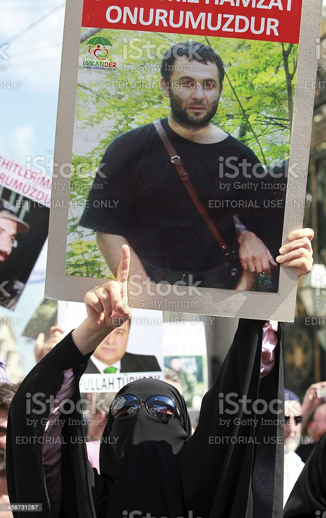 Chechen protest in Istanbul,Turkey. stock photo