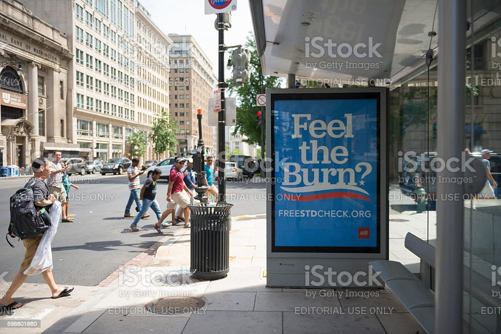 STD check advertisement in Washington DC stock photo