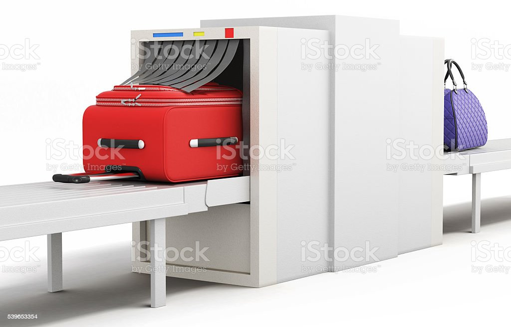 Check baggage at the airport x-ray scanner. 3d illustration stock photo