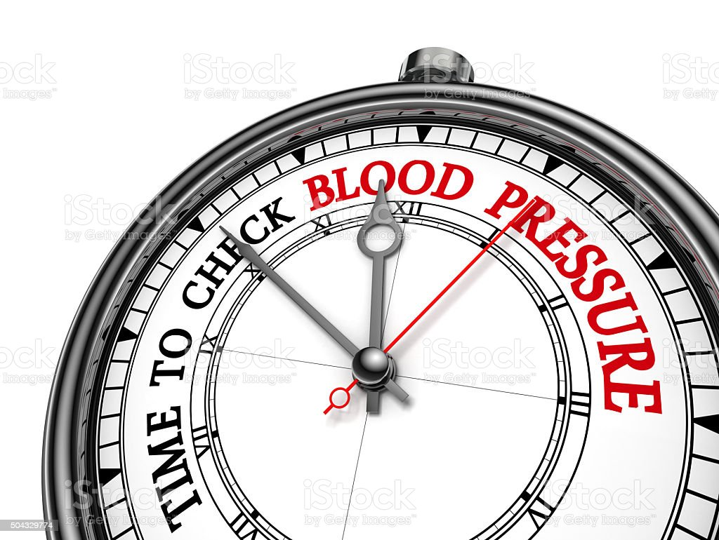 Check blood pressure red motivation message on concept clock stock photo