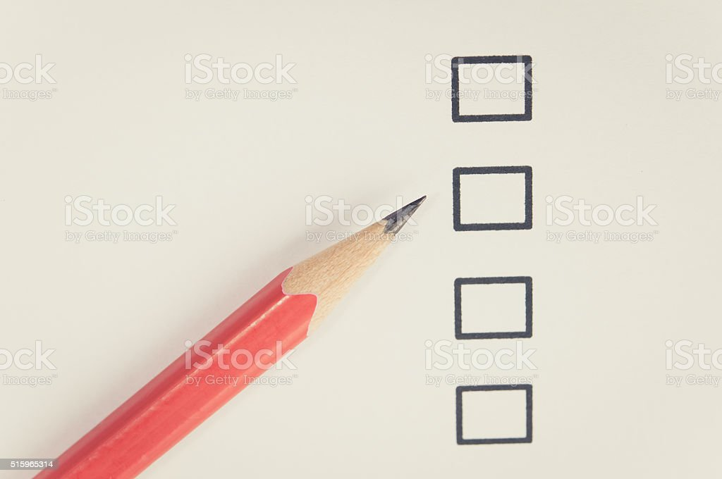 Check Box and red pencil stock photo