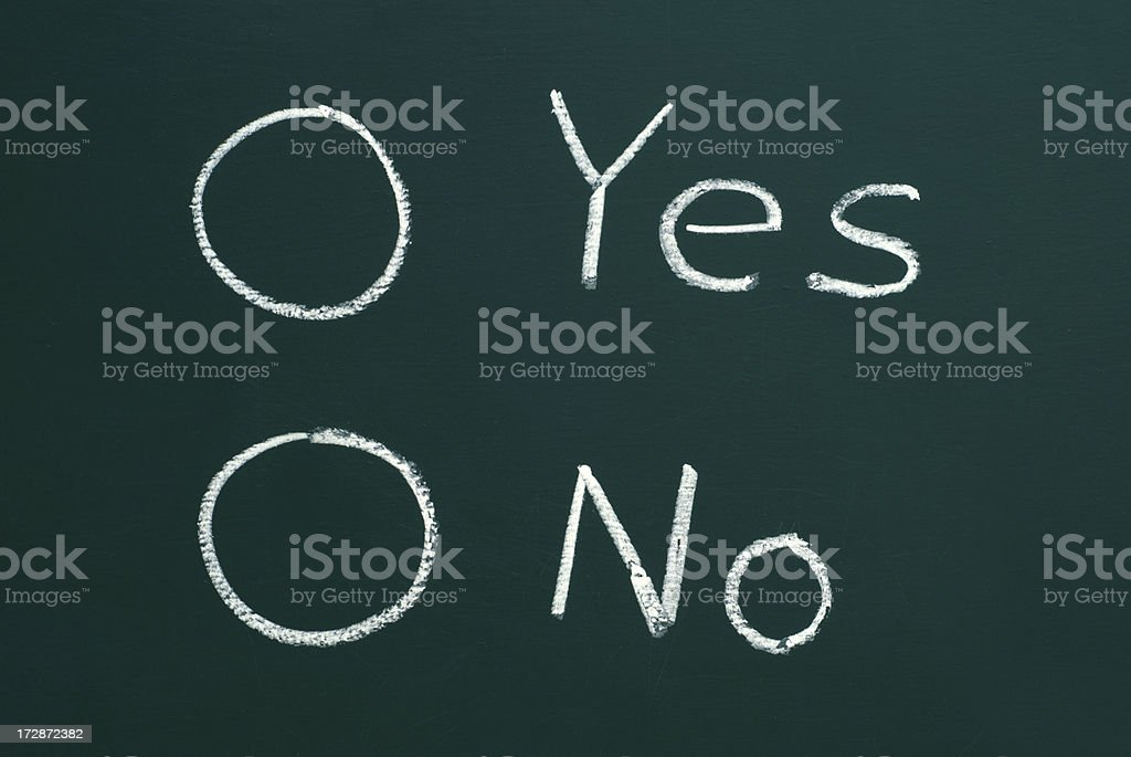 check boxes for yes or no on a blackboard royalty-free stock photo