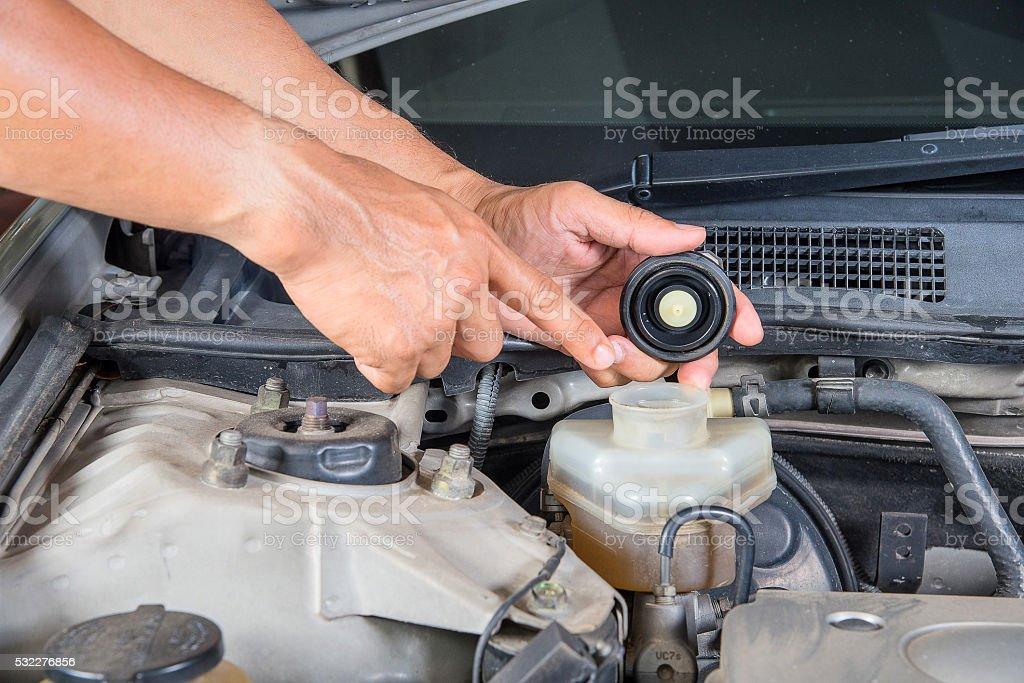 Check brake fluid inlet,Car maintenance,Check  car yourself. stock photo