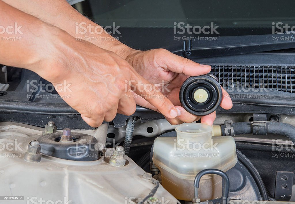 Check brake fluid inlet,Car maintenance,Check  car yourself,Chec stock photo