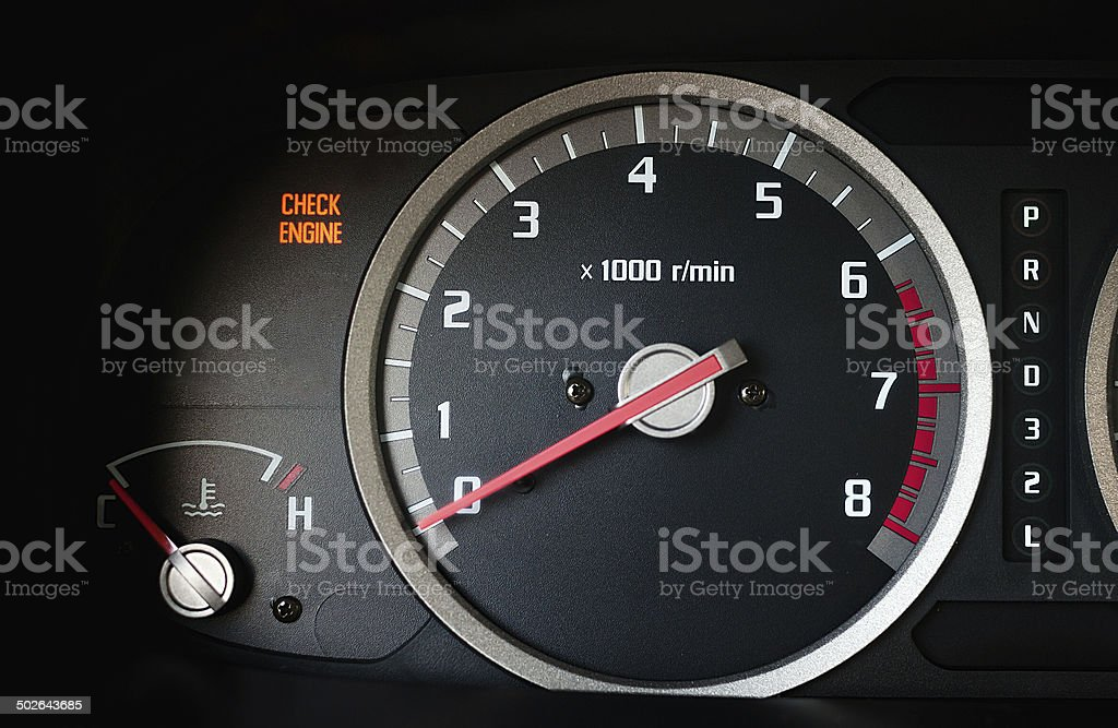 Check engine warning light on on dashboard stock photo