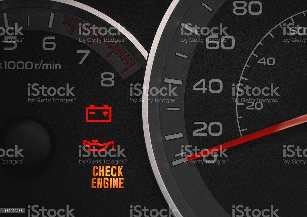 Check engine warning light. royalty-free stock photo