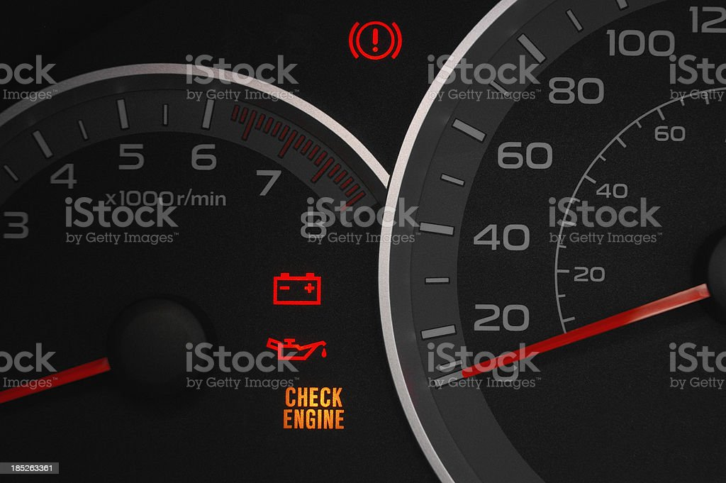 Check engine warning light. stock photo