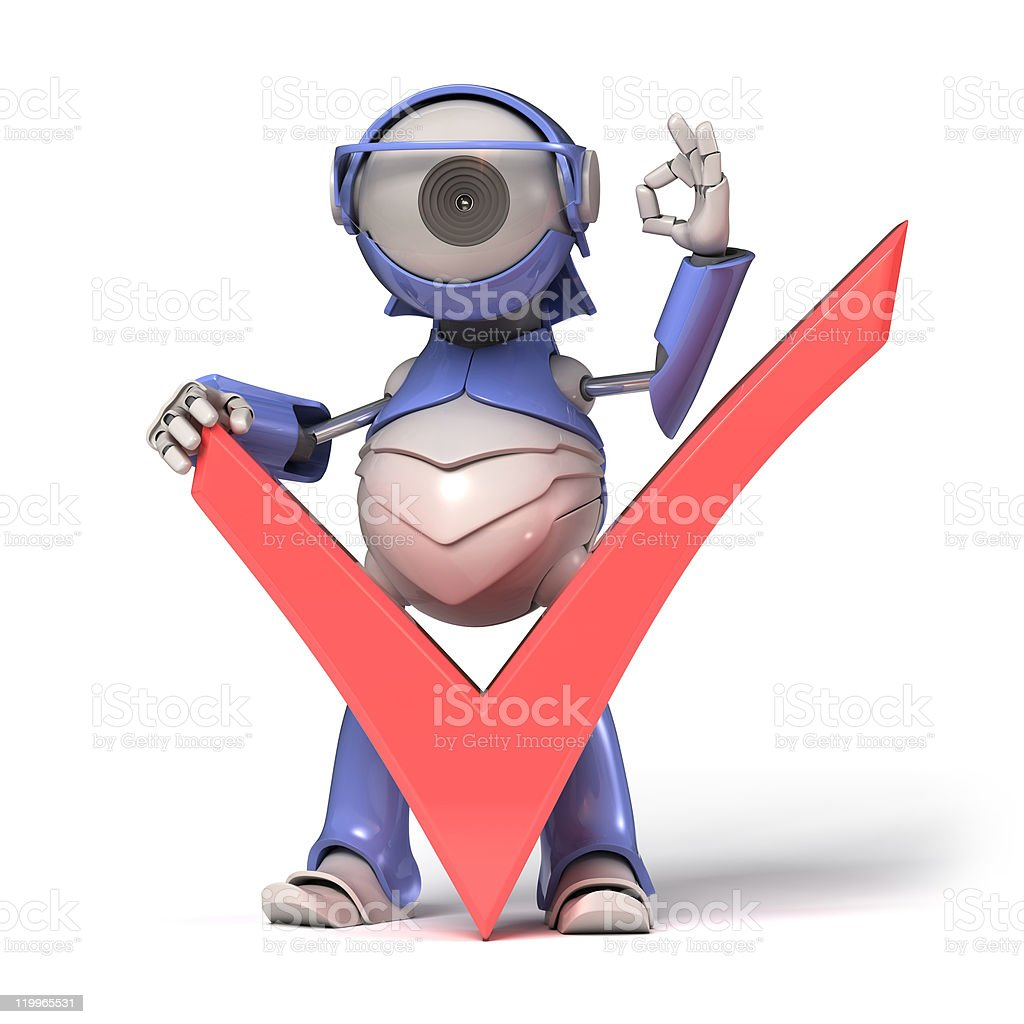 Check icon and robot royalty-free stock photo