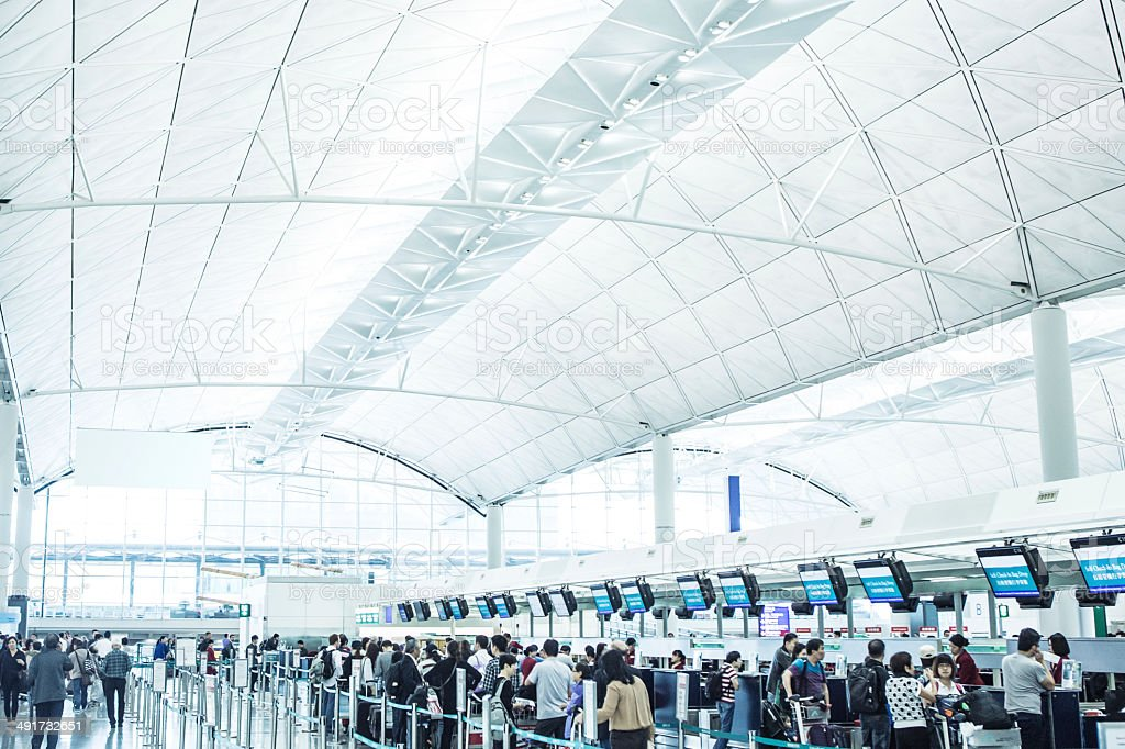 Check In at Hong Kong International Airport stock photo