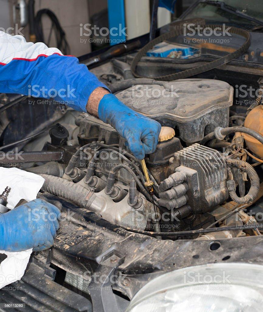 Check in Motor oil stock photo