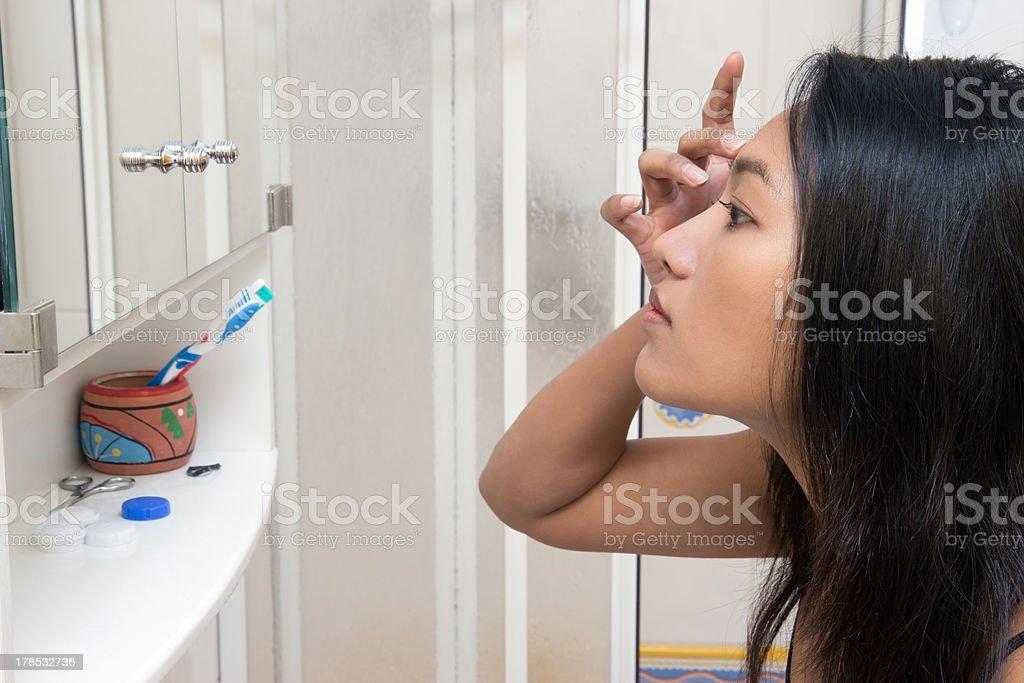 Check in the mirror stock photo