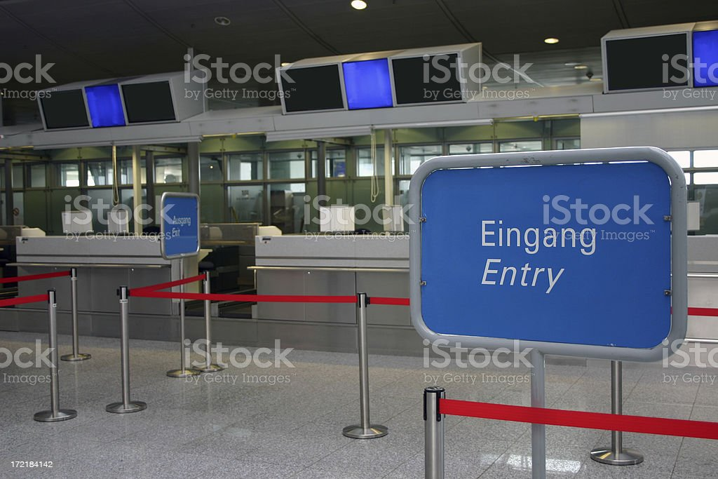 Check in with entry and exit stock photo