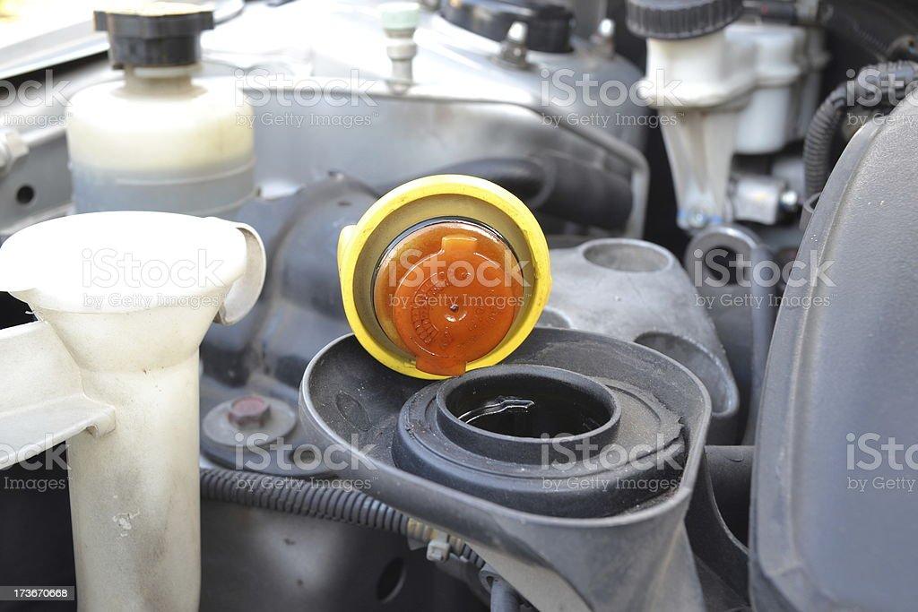 Check liquid inside a car engine. royalty-free stock photo