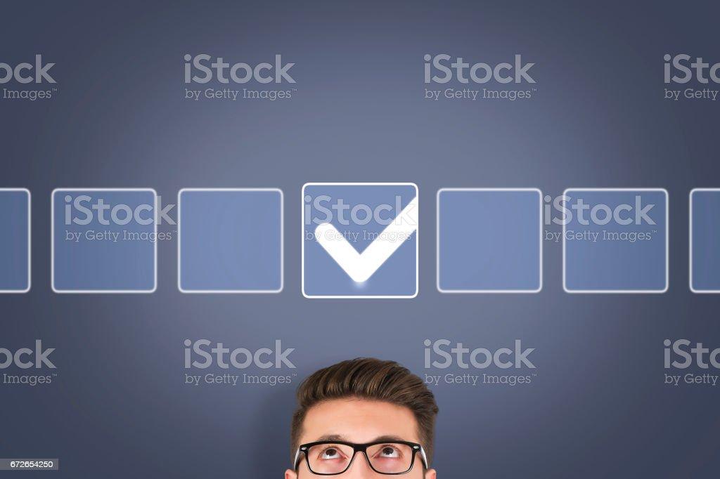 Check List on Screen stock photo