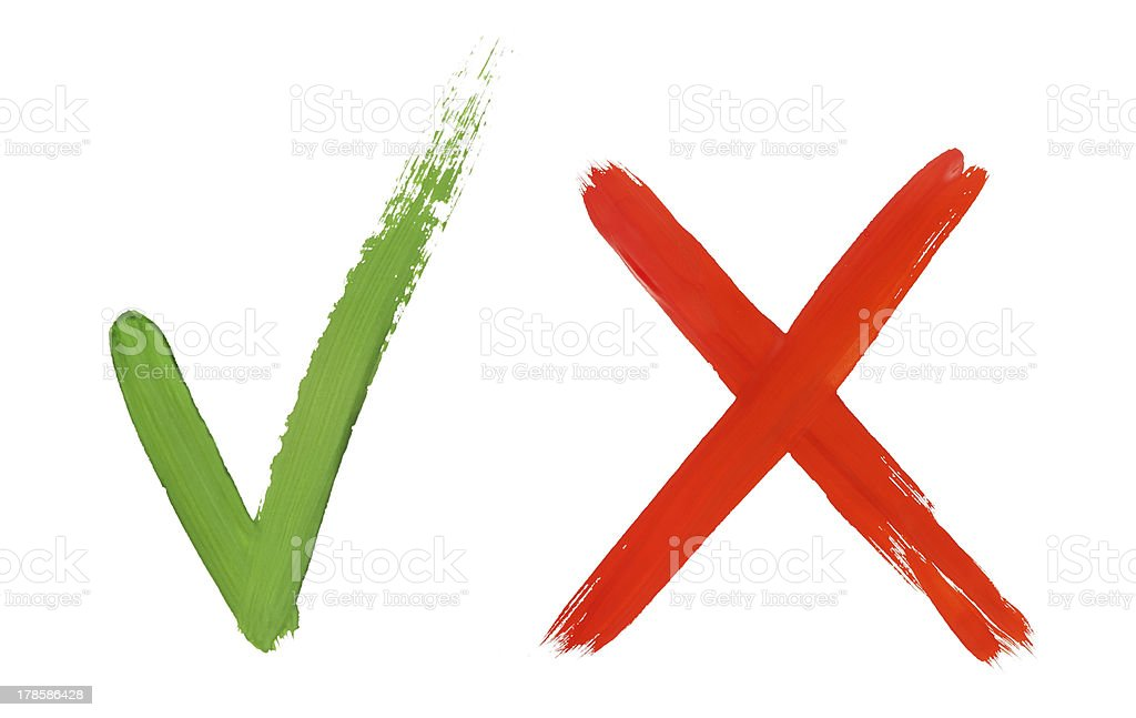 check mark and cross stock photo