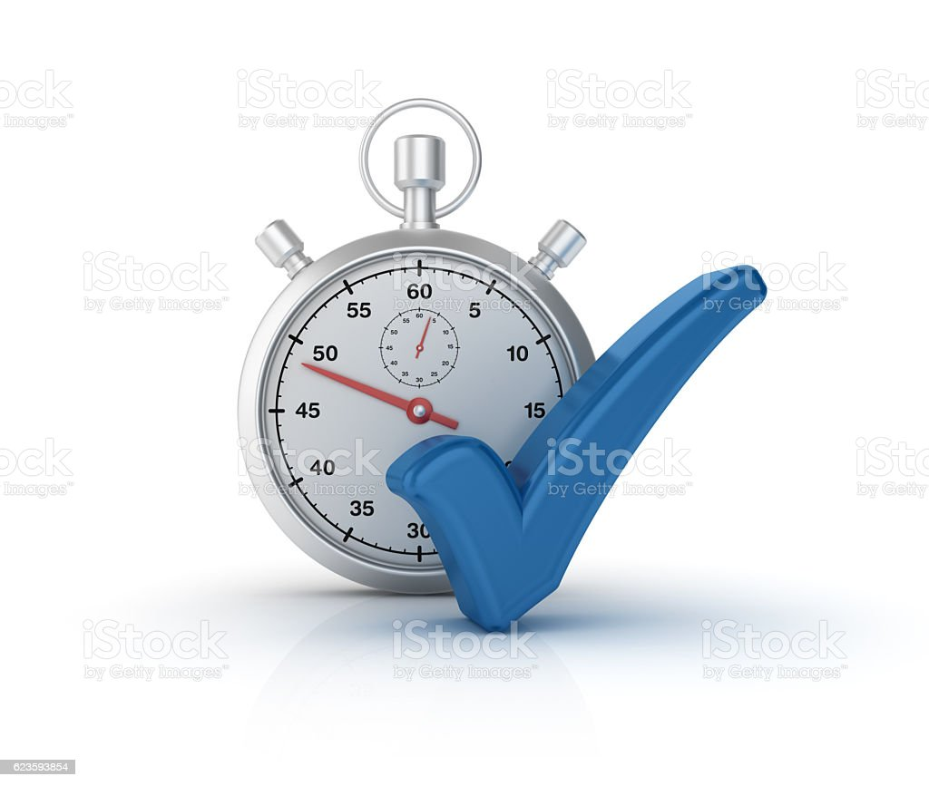 Check Mark and Stopwatch - 3D Rendering stock photo