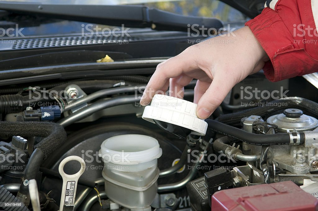 Check of a brake liquid. stock photo