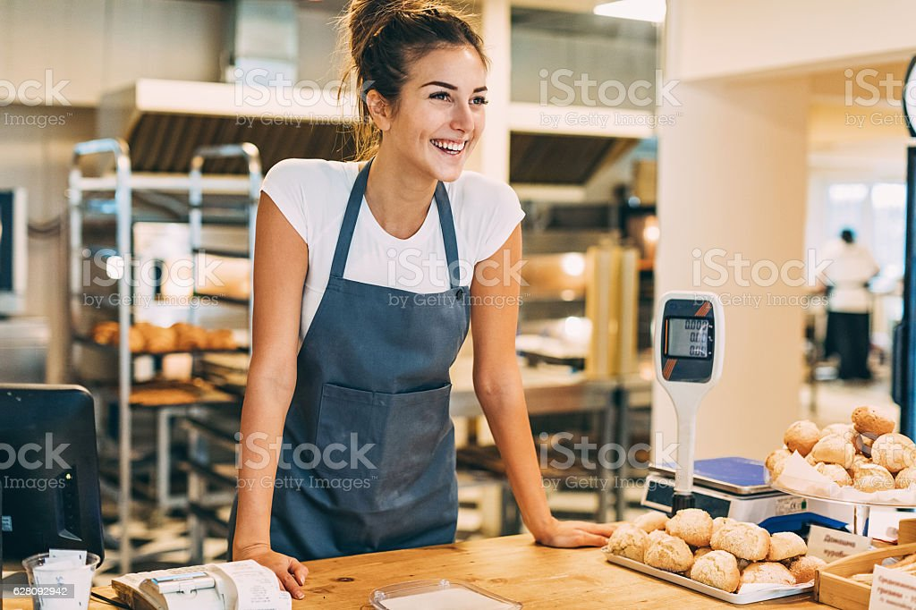 Check out counter in the bakery stock photo