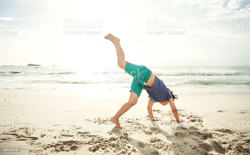 Check out my cartwheel! stock photo