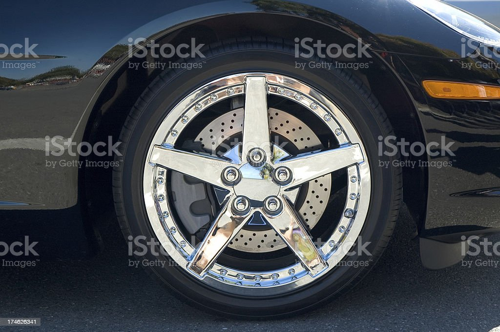 Check out these chrome rims be stylin'. stock photo