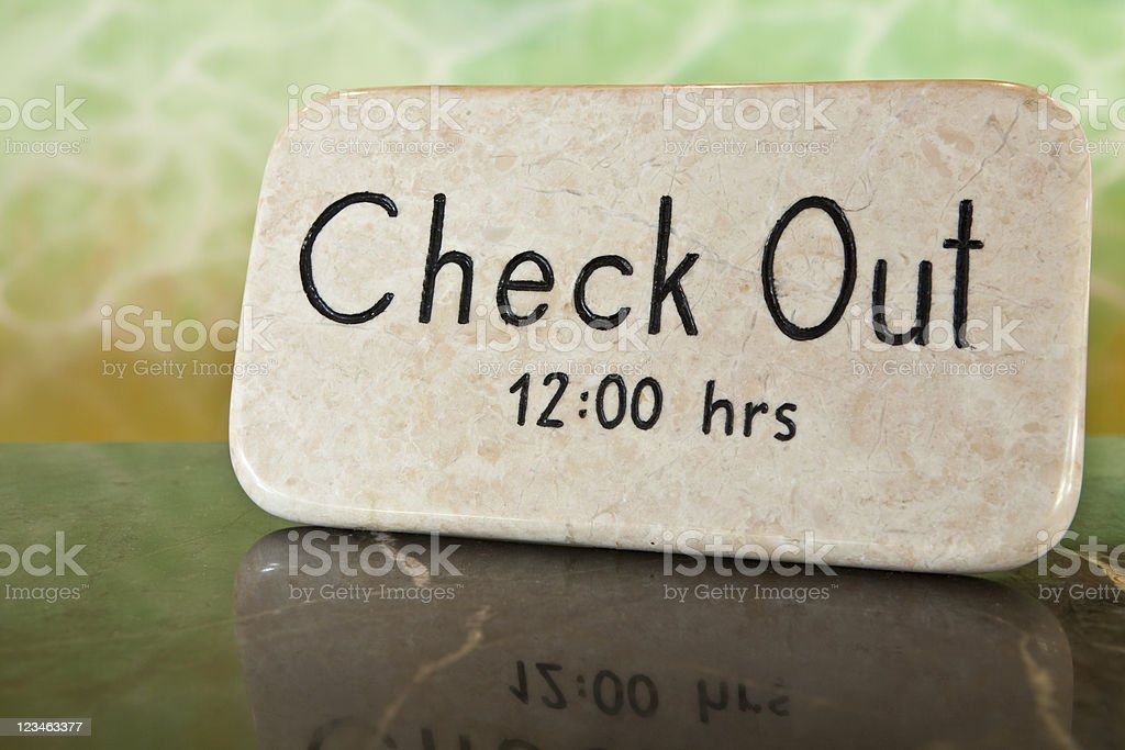Check Out Time Hotel Reception Front Desk stock photo