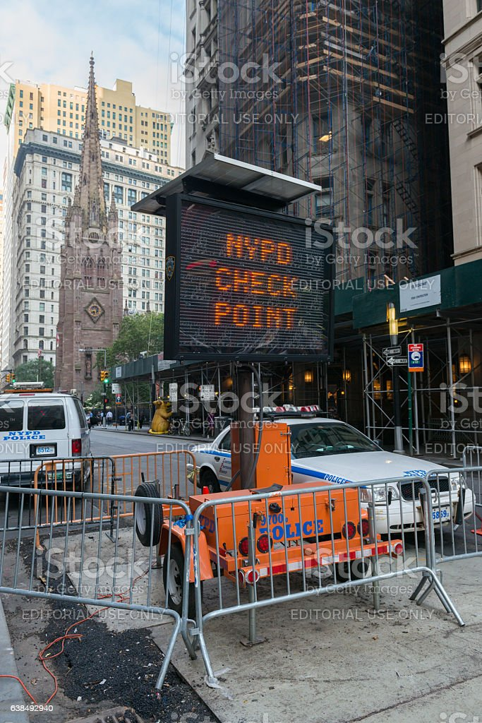 NYPD Check Point stock photo